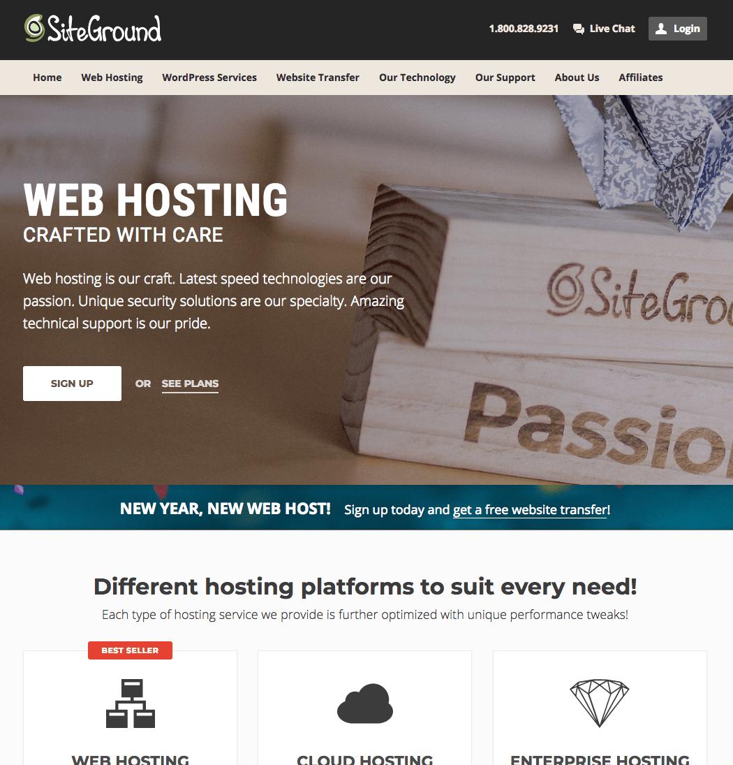 SiteGound Home Page