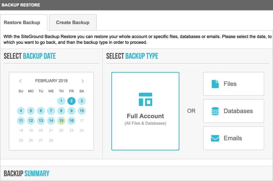 siteground backup dashboard