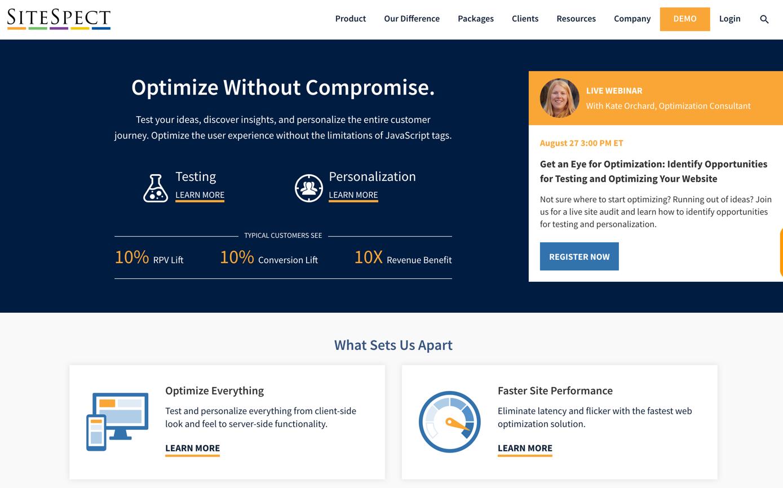 sitespect homepage