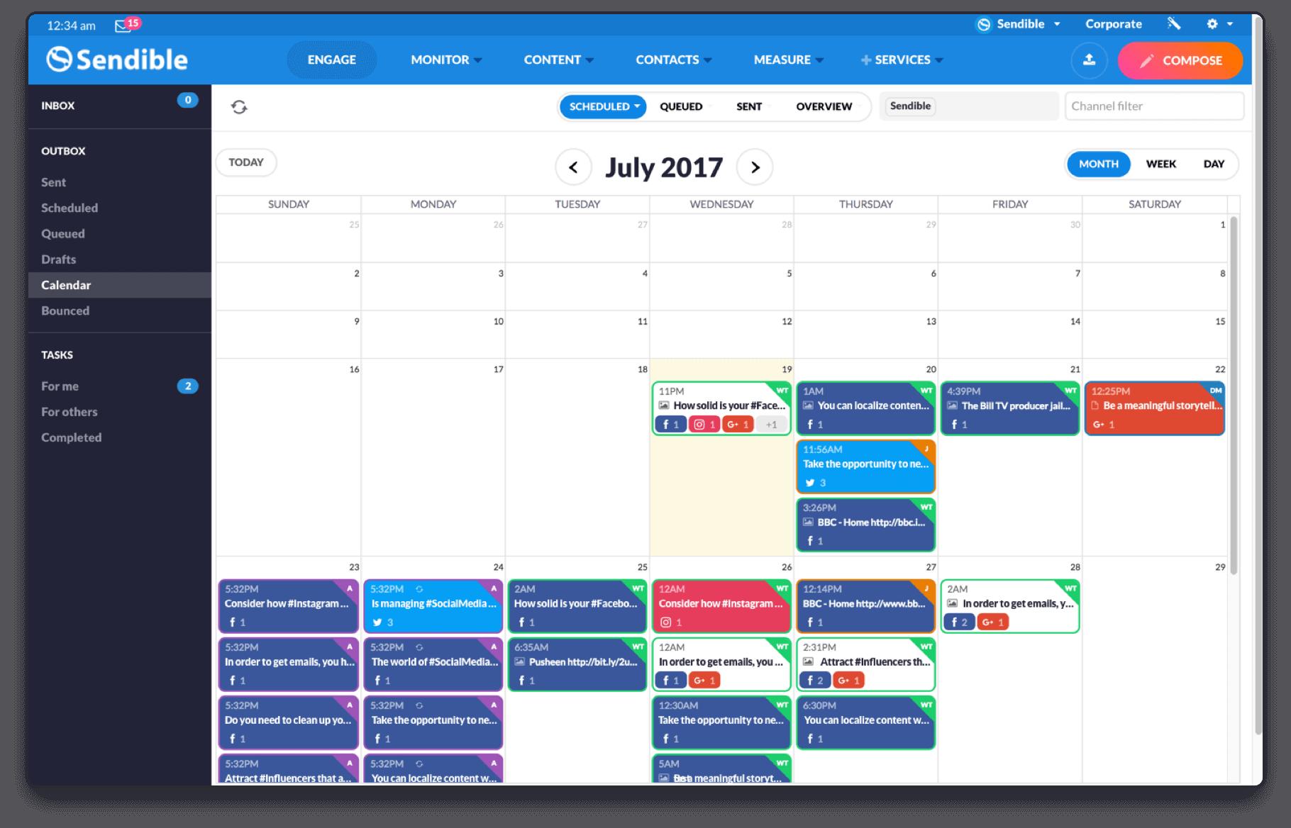 Social calendar in Sendible