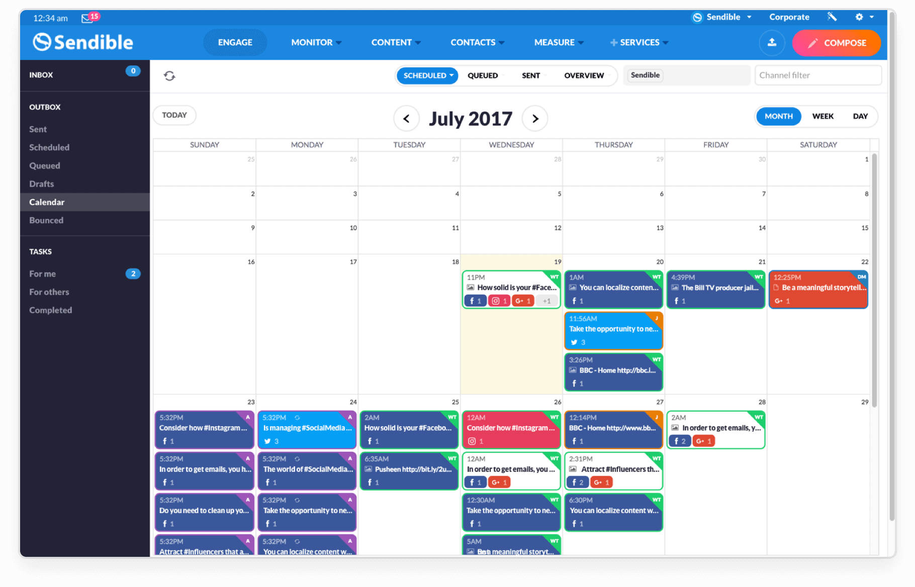 Social calendar in Sendible