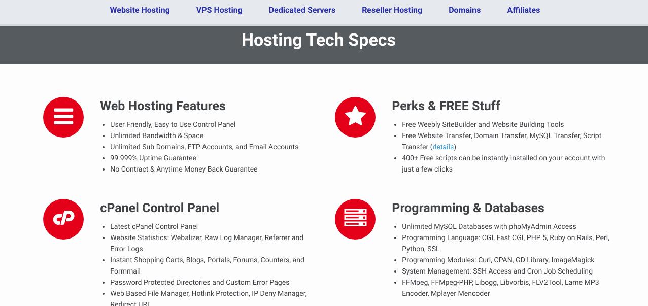 Certified Hosting Specs Screenshot