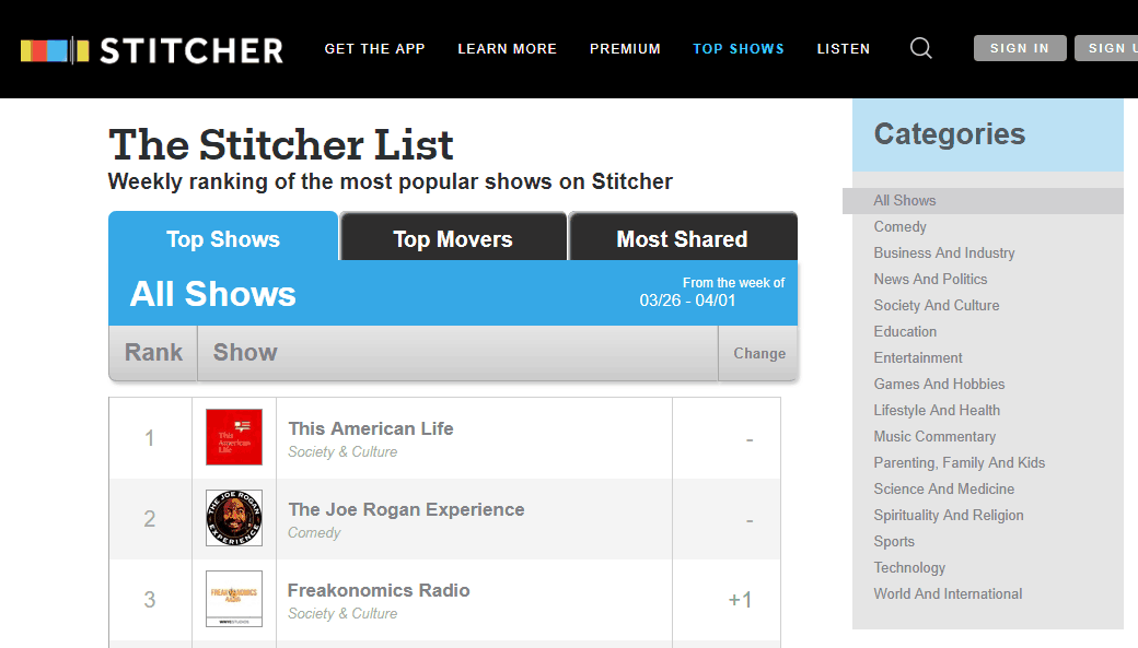 stitcher podcasts
