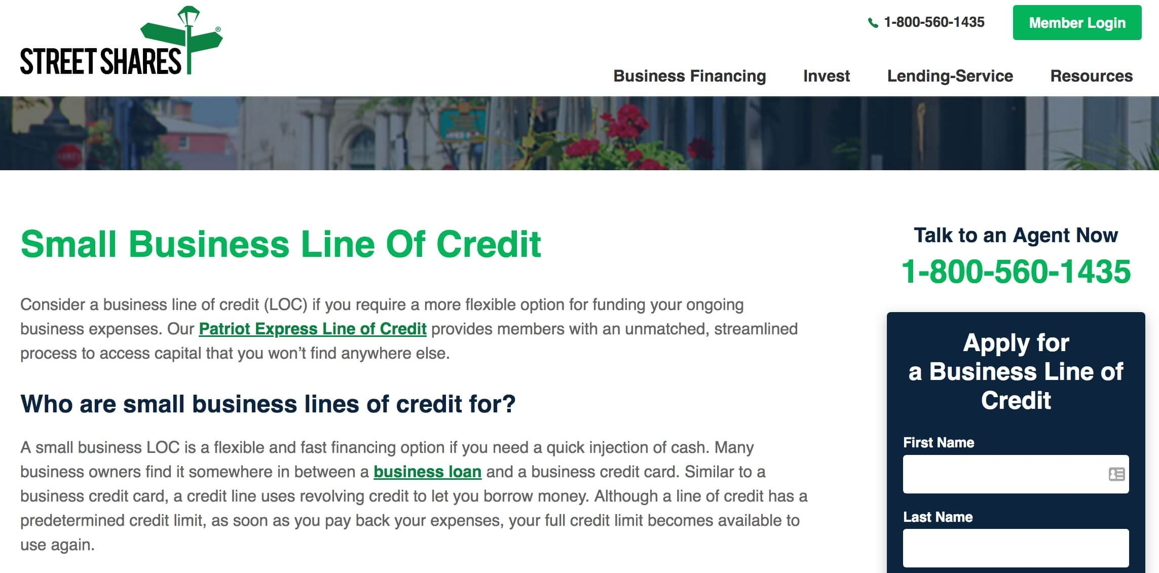 StreetShares business line of credit