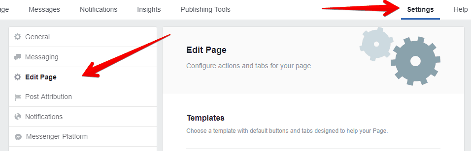 Steps to locate the tab settings on a Facebook page