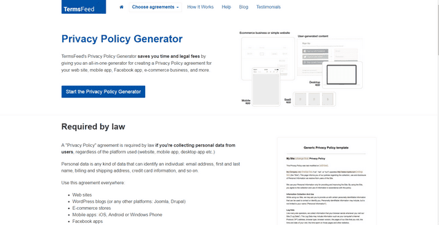 TermsFeed privacy policy maker