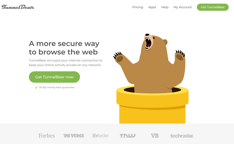 tunnelbear homepage