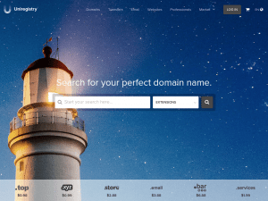 Uniregistry homepage
