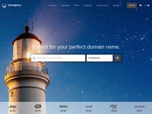 Uniregistry homepage