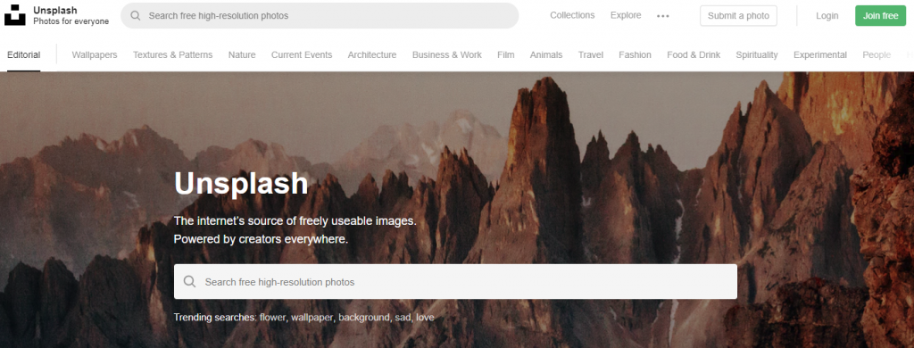 unsplash stock photo site homepage