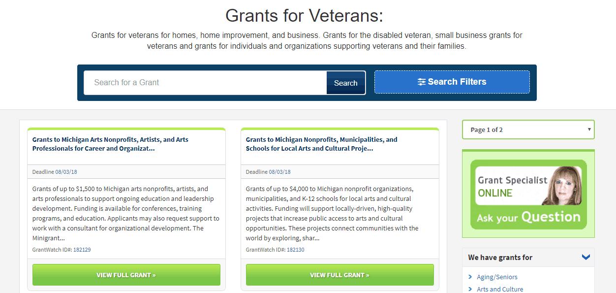 veteran grants