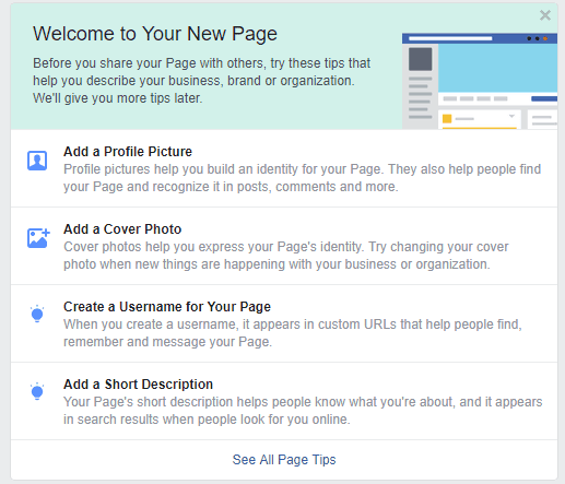 The welcome page for a new business on Facebook