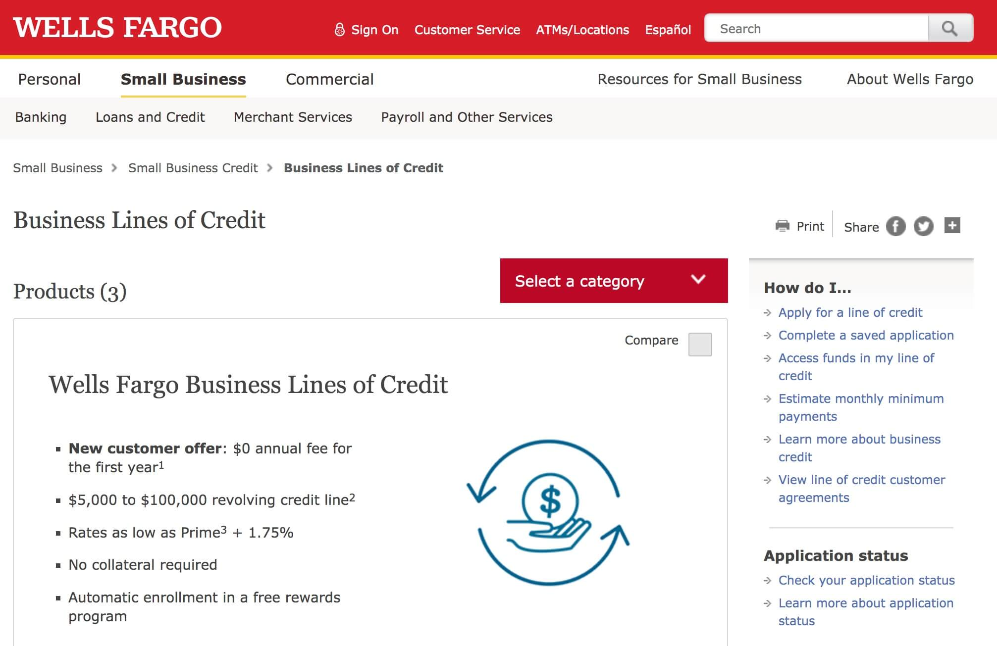 Wells Fargo business line of credit