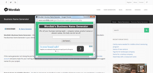 Wordlab Business Name Tool