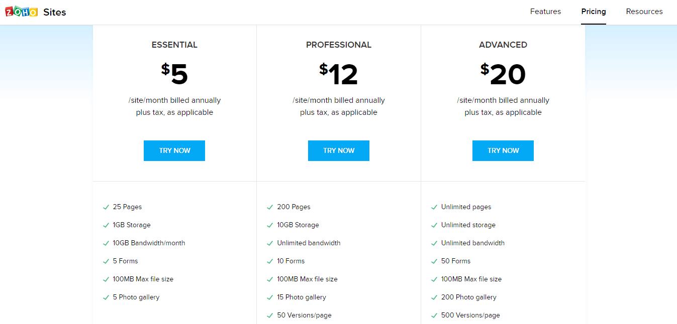Zoho Sites Billing