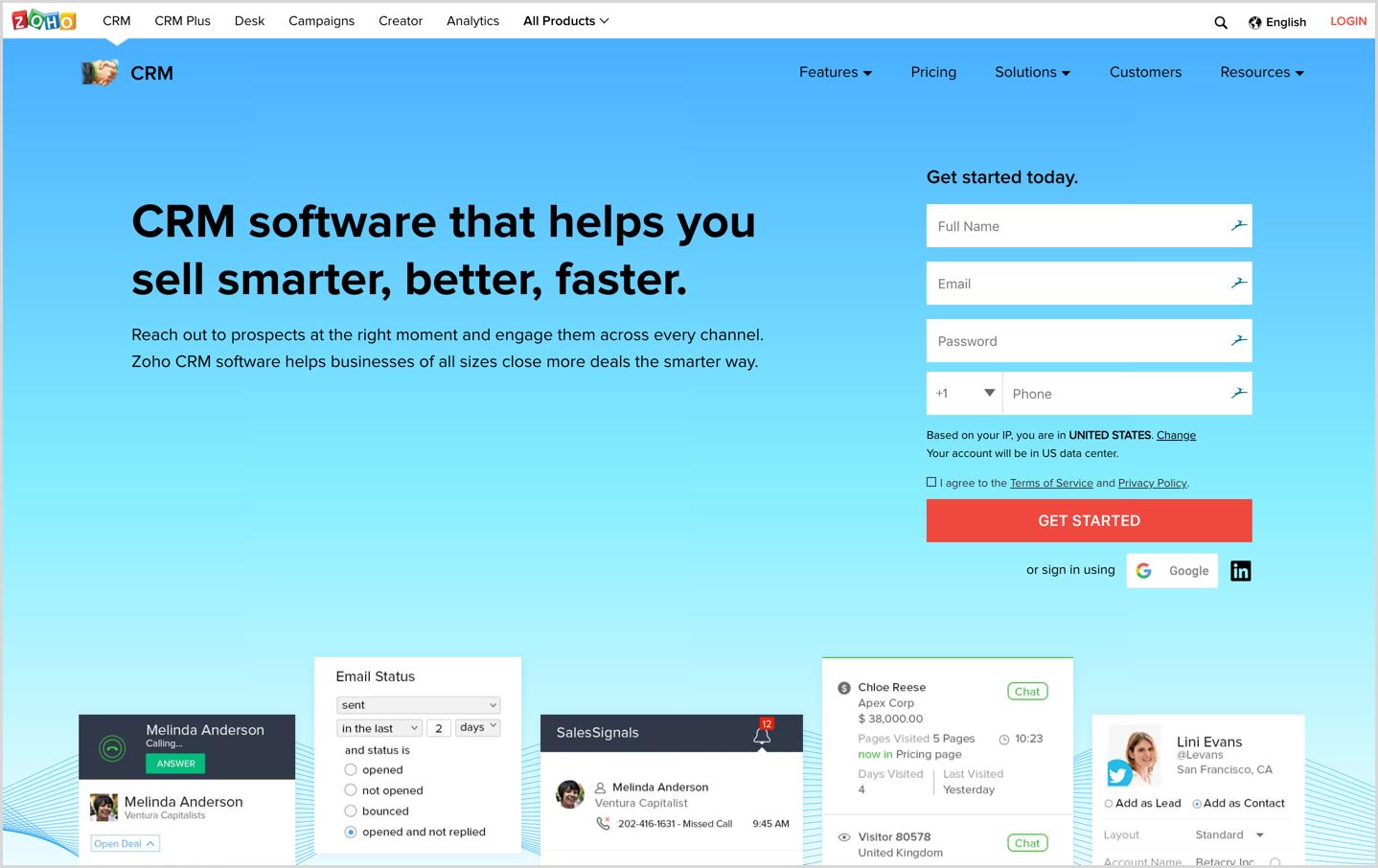 Zoho CRM Homepage
