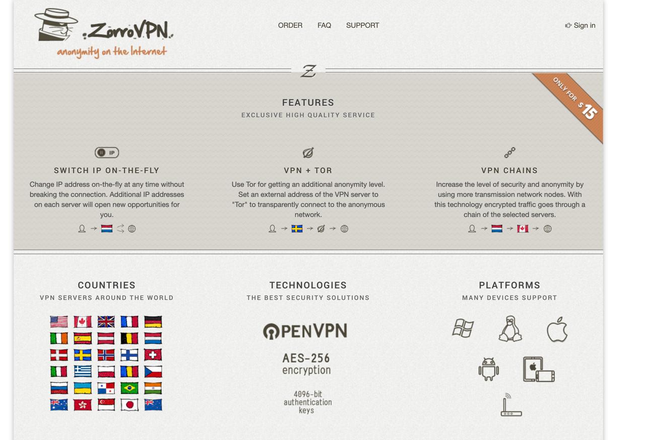 zorrovpn homepage